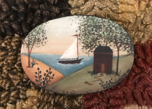 SN-PIN4 Red House with Sailboat Pin
