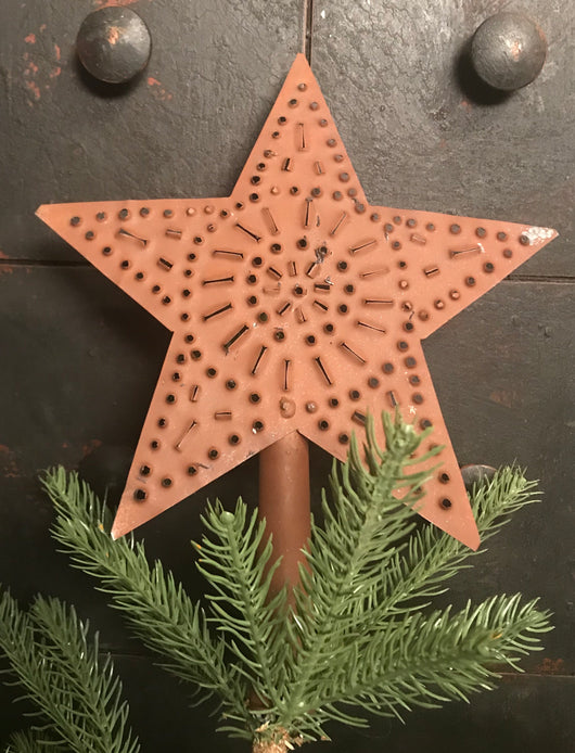 TP-XLS Large Punched Tin Star Tree Topper