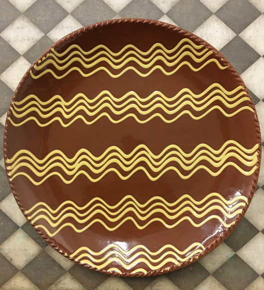 NV-RP2 Redware Platter with Wavy Bands
