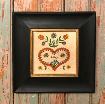 ER-2203 Framed 1863 Heart Fraktur