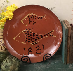 DTS-0228-19 Two Fish Redware Plate