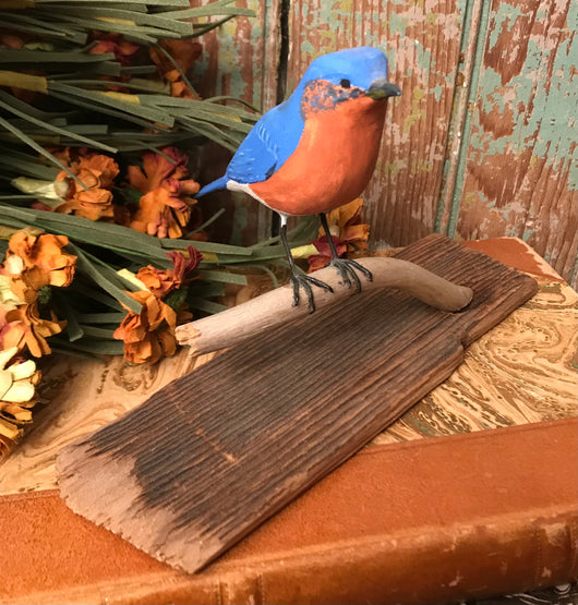 NV-76 Hand-Carved & Painted Bluebird on Base