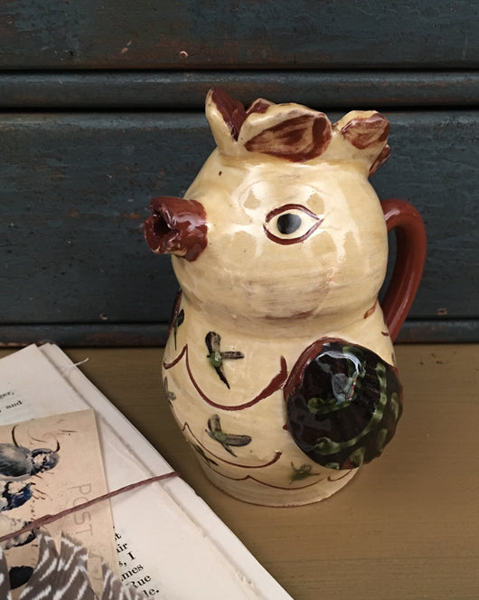 SJP-1463 Yellow Chicken Pottery Pitcher