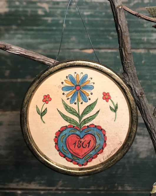 ER-V06 Original Heart & Flower Fraktur Token of Affection