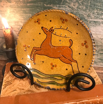 GMS-208 Shooner Redware Leaping Stag Round Plate
