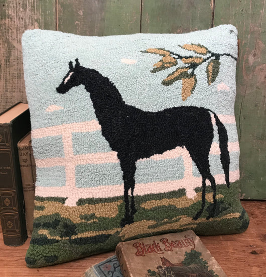 PH-004 Black Horse Wool Hooked Pillow