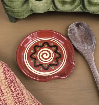 SJP-1488 Redware Spoon Rest - Pattern will vary