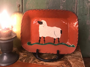 DTS-145 Sheep Redware Tray