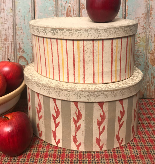 NV-102 Stenciled Oval Boxes- Set of 2