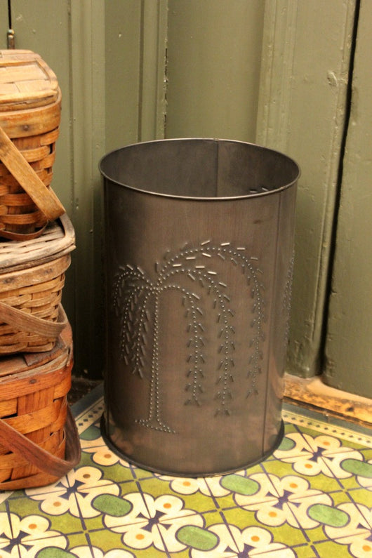 IR-WW Punched Willow Waste Basket