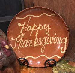 DTS-HTG Happy Thanksgiving Redware Plate