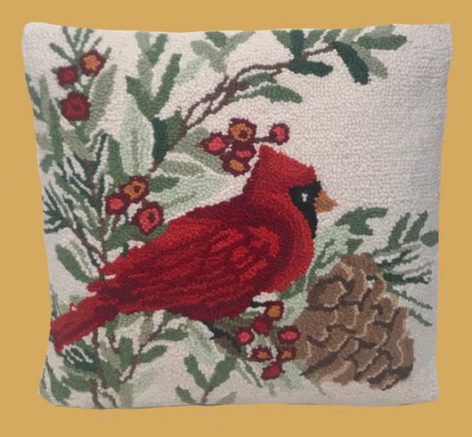 PH-018 Winter Cardinal Wool Hooked Pillow