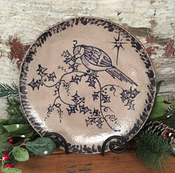 DTS-1206-08 Bird in Holly Redstoneware Plate