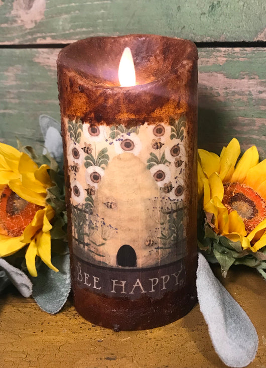 RJ-2003 Realistic Flame Pillar Candle - Bee Happy