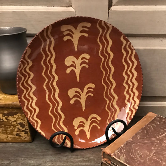 DTS-141 Four Ferns & Wiggly Lines Redware Plate