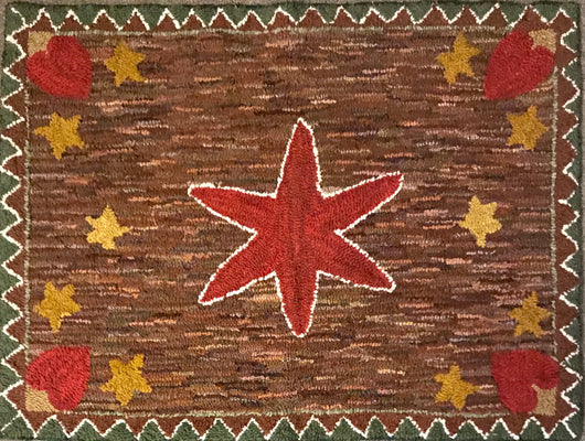 LG-2000 Hand-Hooked Red Star Wool Rug