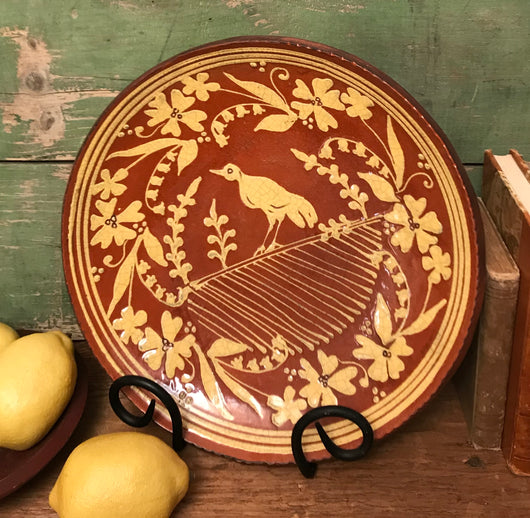 NV-56 Bird & Floral Redware Plate
