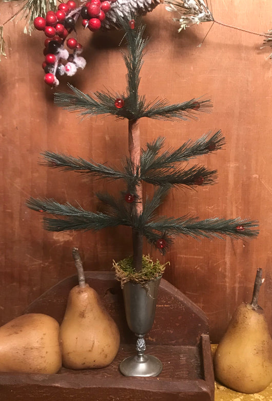 NV-FT52 Feather Tree in Pewter Chalice with Pineapple Adornment