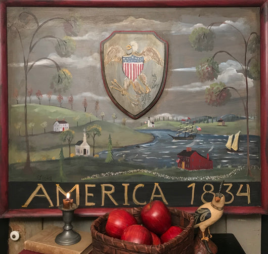 SDL-2031 Original Village Scene 'America 1834' Tavern Sign
