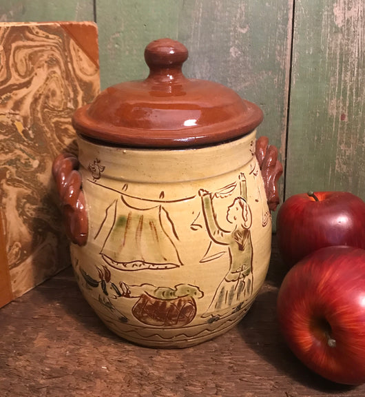 SJP-2003 Sgraffito Pottery Squat Canister with Handles