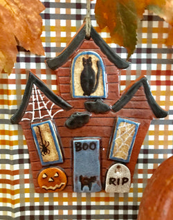 KS-HHO Haunted House Redware Ornament