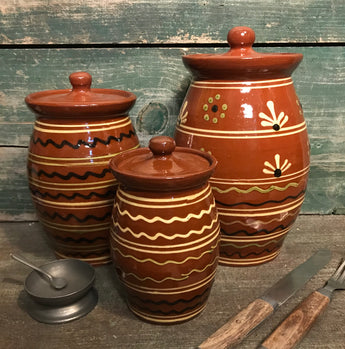 SJP-1958 Red Pottery Canister - Set of 3