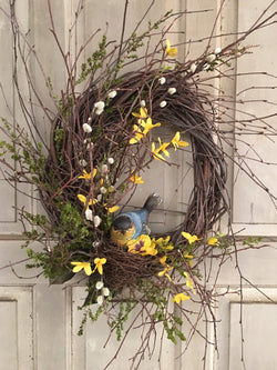 FS-RBW-01 Twig Wreath with Resin Bird in Nest