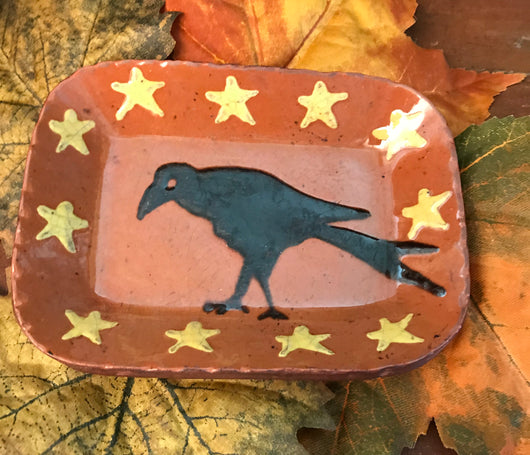 DTS-0810 Crow & Stars Redware Tray