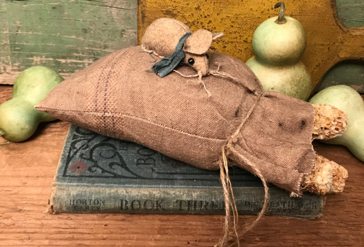 NV-25 Fabric Mouse on Grain Sack with Dried Corn Cobs