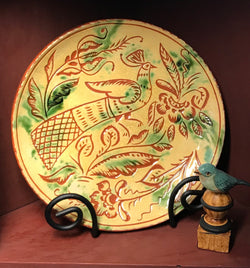 DTS-0806 Bird Sgraffito Redware Plate