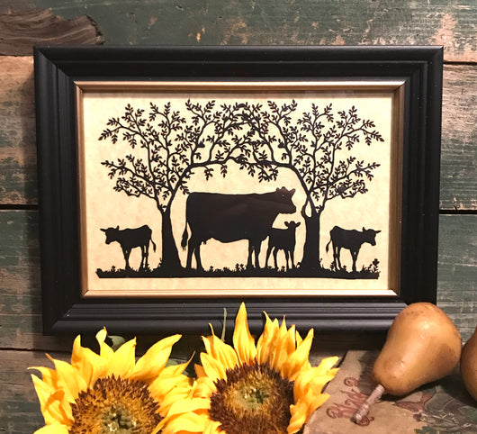 MB-4CT Four Cows Under Trees Framed Silhouette