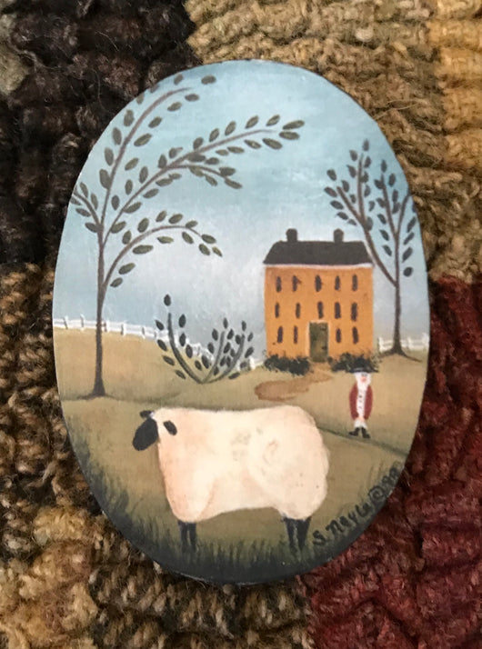 SN-PIN12 Mustard House with Sheep Pin