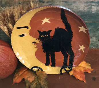 DTS-F15 Black Cat on Moon Redware Plate