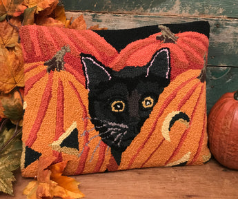 PH-006 Black Cat with Pumpkins Wool Hooked Pillow