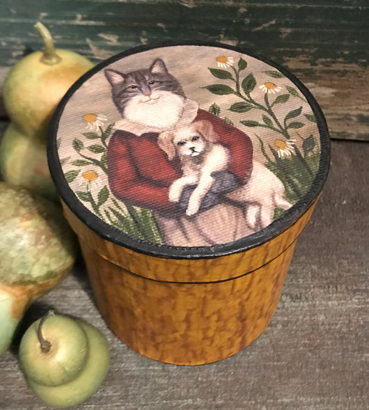 WW-114 Hand-painted Box with Cat holding Dog