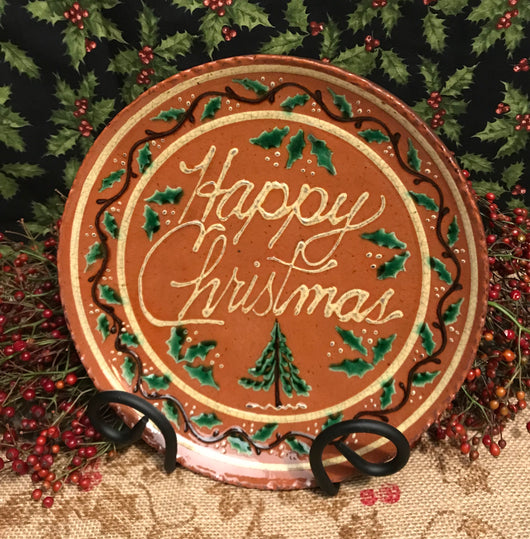 DTS-X09 Happy Christmas Redware Plate