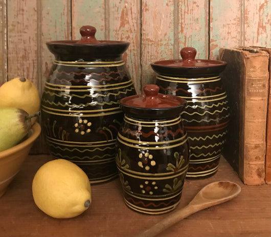 SJP-3BC Black Pottery Canister - Set of 3