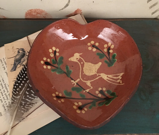 DTS-0228-02 Heart Bird Redware Tray