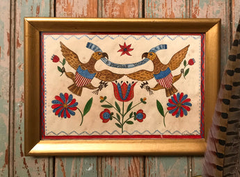 ER-2119 Original Americana Eagles Watercolor in Gold Frame