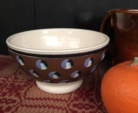SJP-WMB5 Wee Mochaware Bowl - Brown with Dots