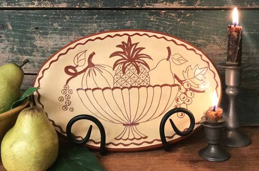 ROP-11 Bowl of Fruit Redware Plate