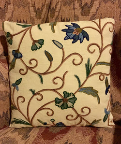 CD-CP-B Crewel Pillow - Blue Flowers