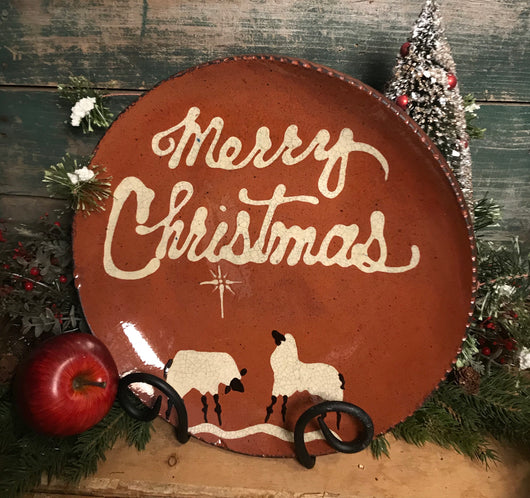 DTS-X21 Merry Christmas with Sheep Redware Plate