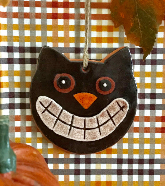 KS-CO Cat Face Redware Ornament
