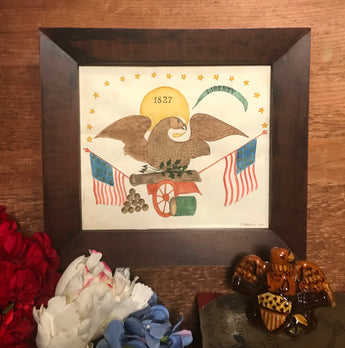 ER-2014 Original Eagle on Cannon Watercolor in Brown Frame