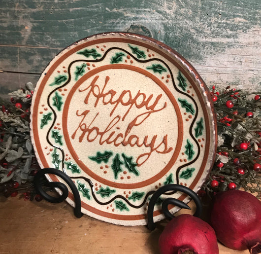 DTS-X22 Happy Holidays Redware Plate