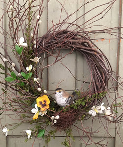 FS-RBW-02 Grapevine Wreath with Nested Bird