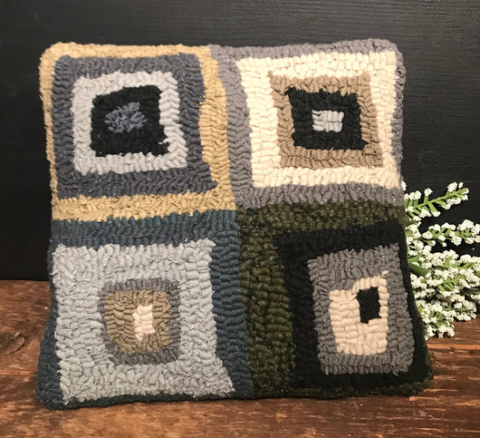 HD-BHP Blue Squares Hooked Pillow