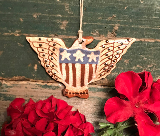 KS-2029 Redware Americana Eagle Ornament