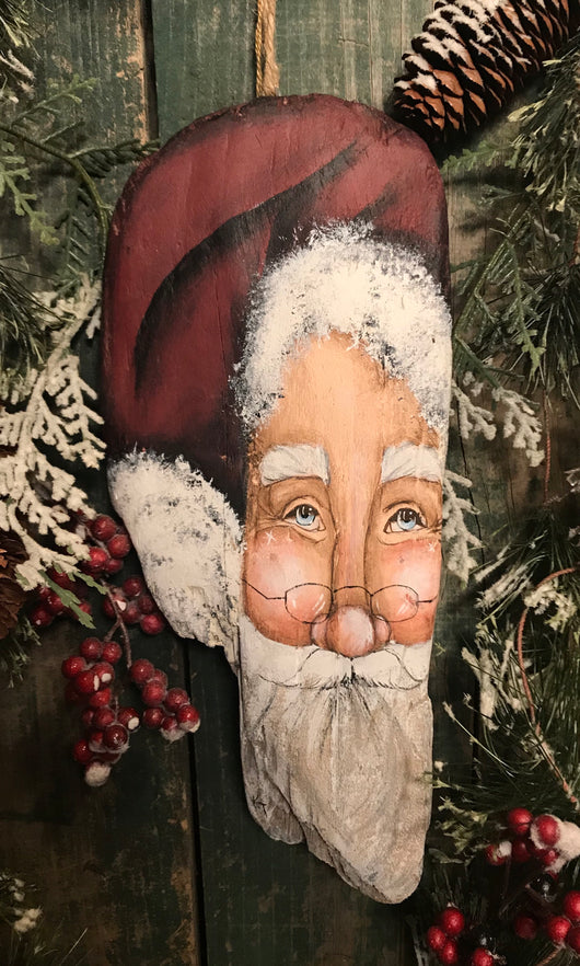 KEY-X21 Hand-painted Santa Face on Driftwood